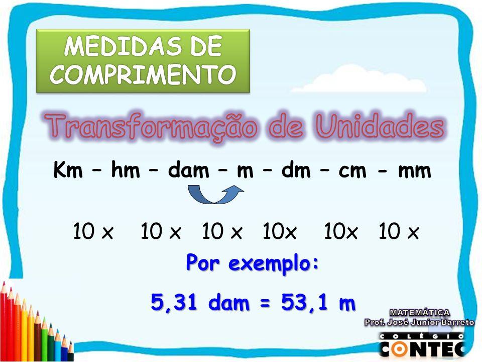 Km – hm – dam – m – dm – cm - mm 10 x 10 x 10 x 10x 10x 10 x Por exemplo: 5,31 dam = 53,1 m