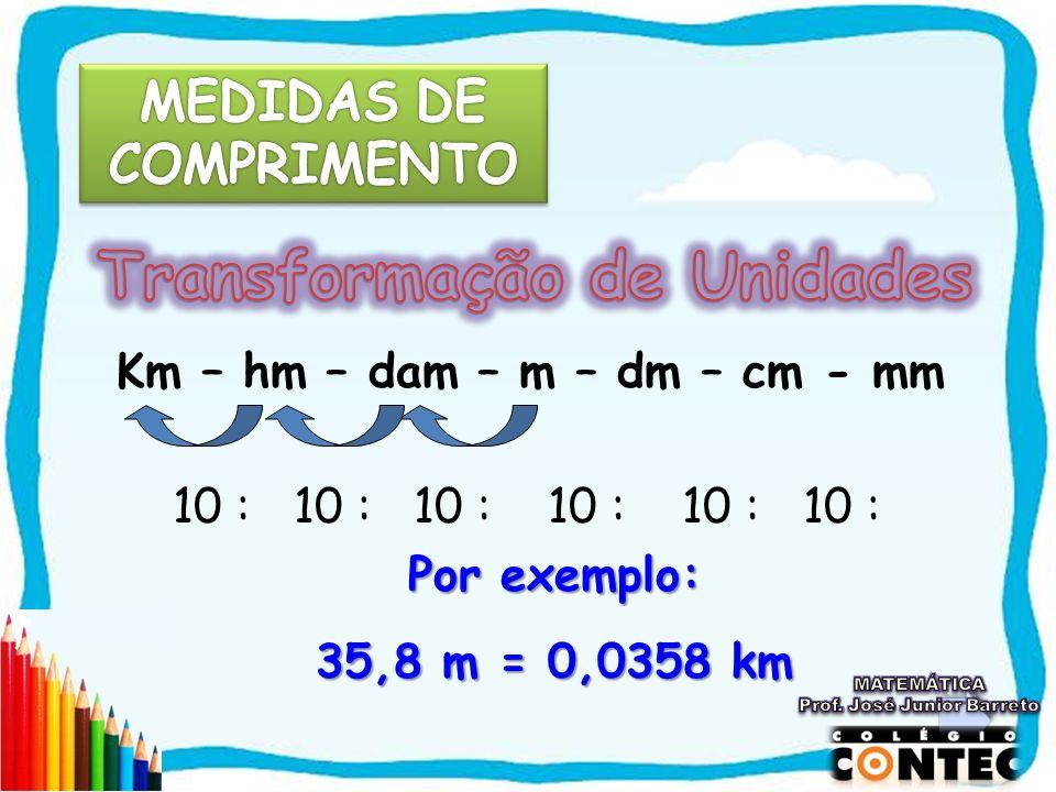 Km – hm – dam – m – dm – cm - mm 10 : 10 : 10 : 10 : 10 : 10 : Por exemplo: 35,8 m = 0,0358 km