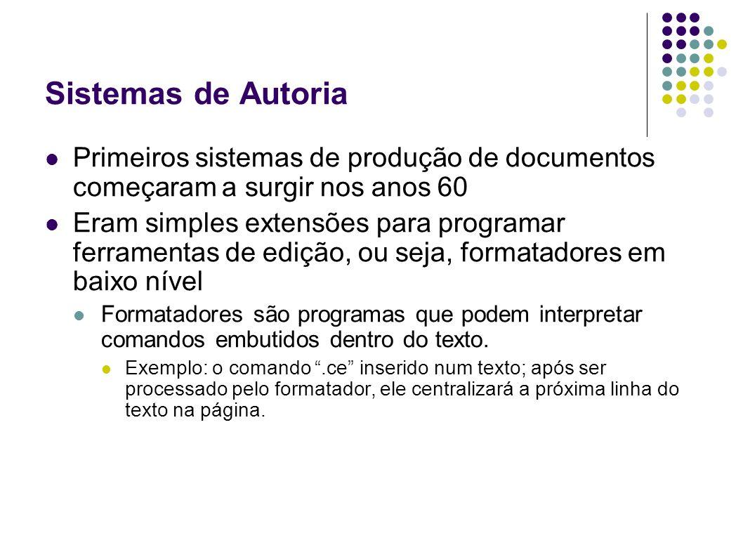 Sistemas de Autoria Primeiros sistemas de produção de documentos começaram a surgir nos anos 60 Eram simples extensões para programar ferramentas de e