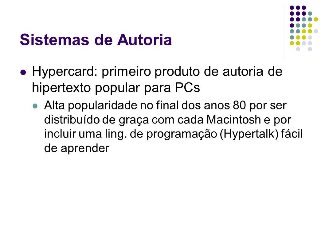 Sistemas de Autoria Hypercard: primeiro produto de autoria de hipertexto popular para PCs Alta popularidade no final dos anos 80 por ser distribuído d