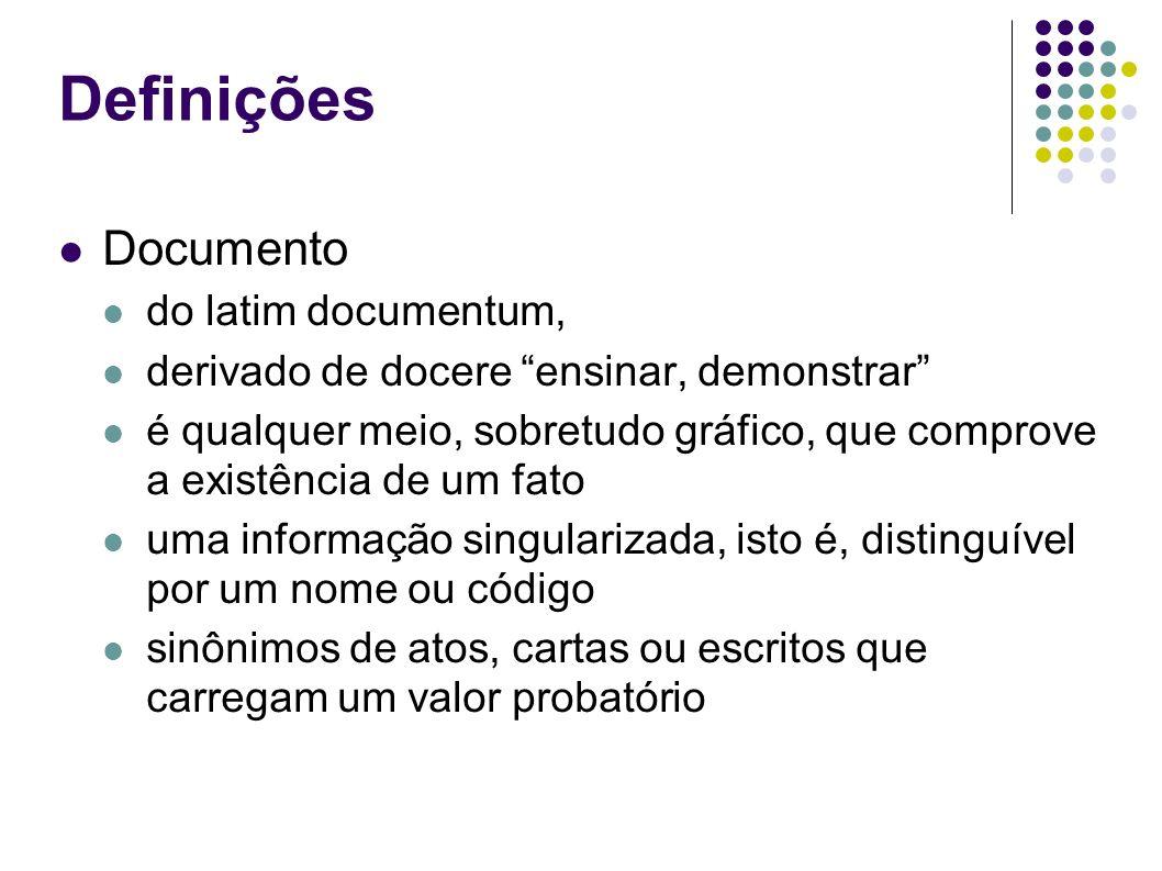 Definições Documento do latim documentum, derivado de docere ensinar, demonstrar é qualquer meio, sobretudo gráfico, que comprove a existência de um f