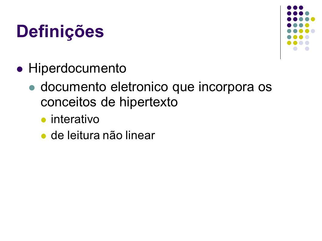 Definições Hiperdocumento documento eletronico que incorpora os conceitos de hipertexto interativo de leitura não linear