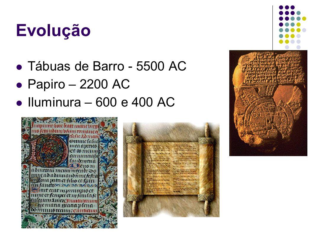 Evolução Tábuas de Barro - 5500 AC Papiro – 2200 AC Iluminura – 600 e 400 AC