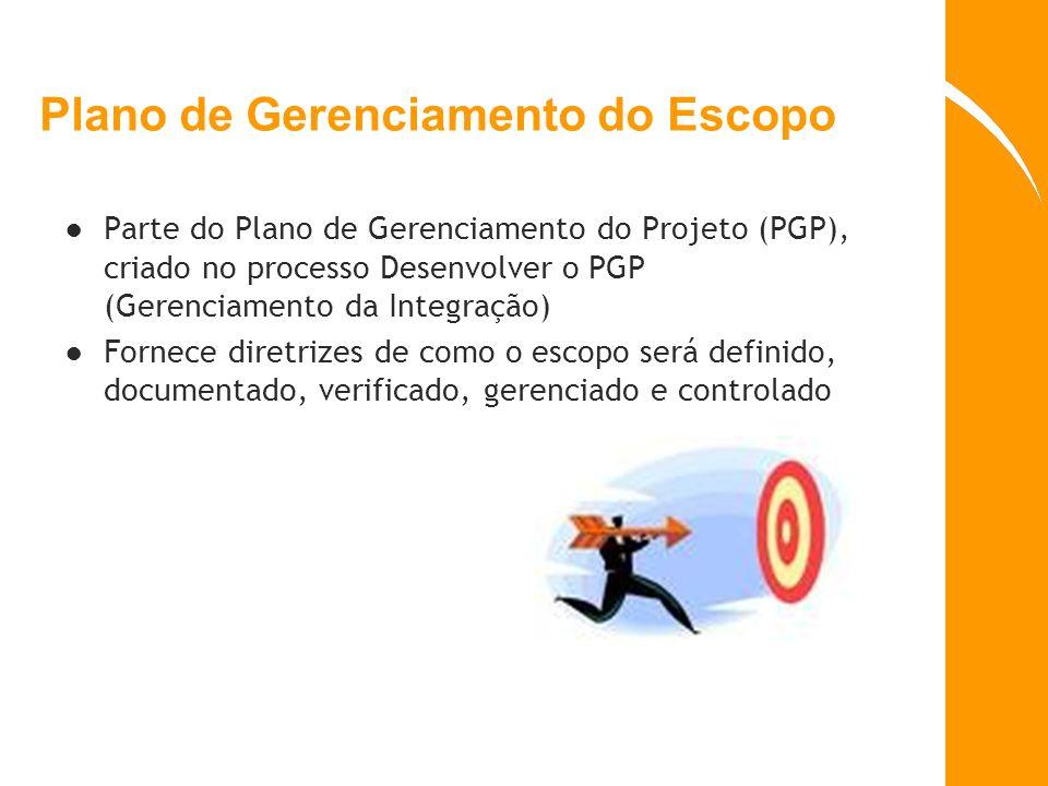 Plano de Gerenciamento do Escopo Parte do Plano de Gerenciamento do Projeto (PGP), criado no processo Desenvolver o PGP (Gerenciamento da Integração)