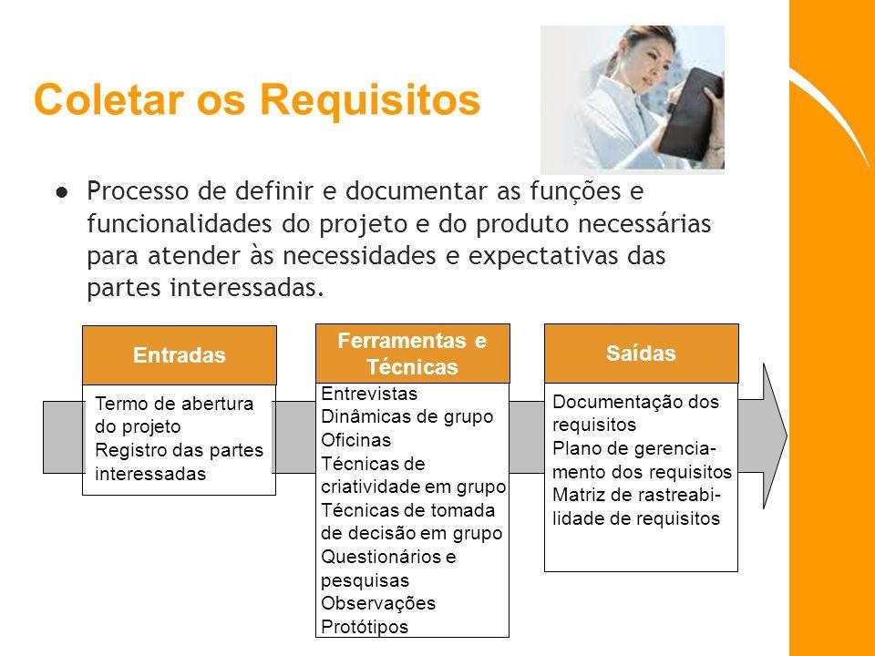 Coletar os Requisitos Processo de definir e documentar as funções e funcionalidades do projeto e do produto necessárias para atender às necessidades e