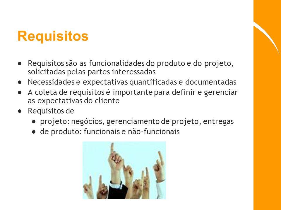Requisitos são as funcionalidades do produto e do projeto, solicitadas pelas partes interessadas Necessidades e expectativas quantificadas e documenta
