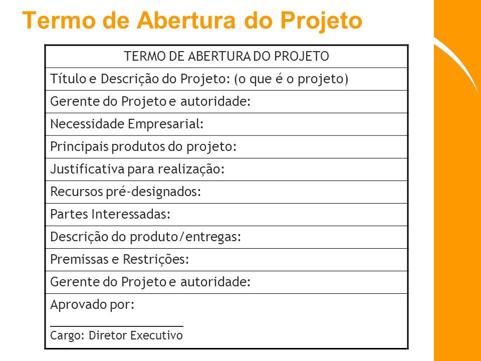 Termo de Abertura do Projeto TERMO DE ABERTURA DO PROJETO Título e Descrição do Projeto: (o que é o projeto) Gerente do Projeto e autoridade: Necessid