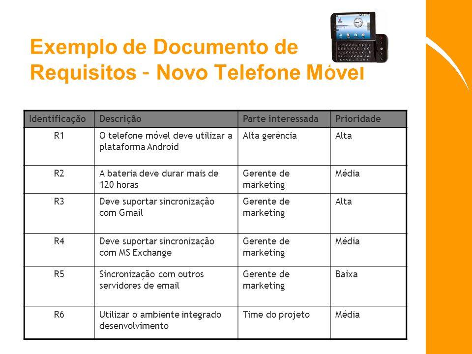 Exemplo de Documento de Requisitos – Novo Telefone M ó vel IdentificaçãoDescriçãoParte interessadaPrioridade R1O telefone móvel deve utilizar a plataf