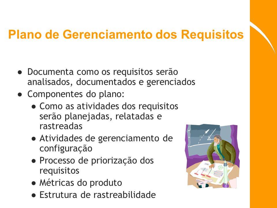 Plano de Gerenciamento dos Requisitos Documenta como os requisitos serão analisados, documentados e gerenciados Componentes do plano: Como as atividad