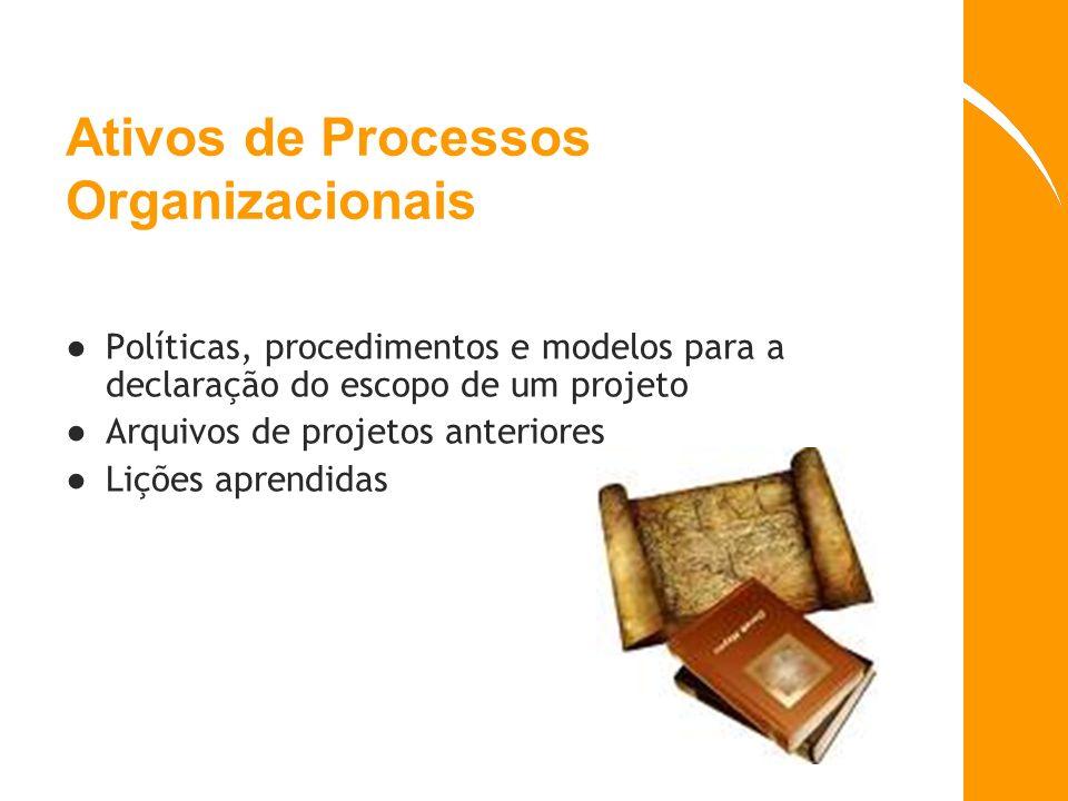 Ativos de Processos Organizacionais Políticas, procedimentos e modelos para a declaração do escopo de um projeto Arquivos de projetos anteriores Liçõe