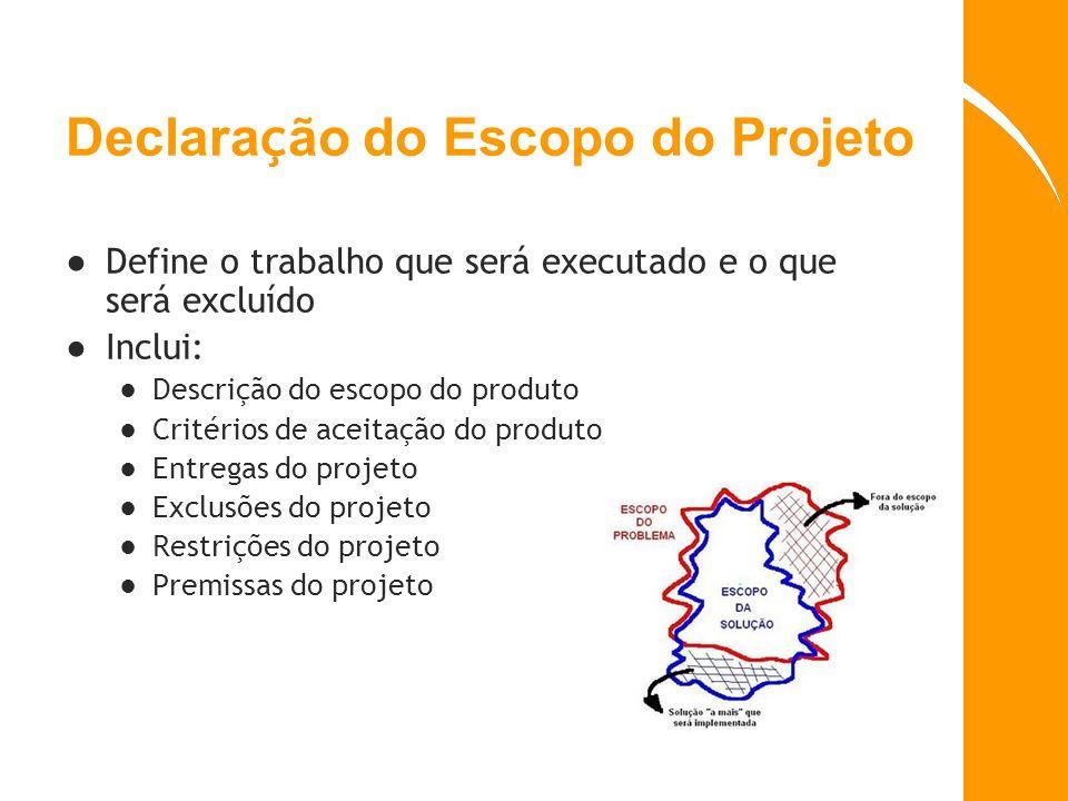 Declara ç ão do Escopo do Projeto Define o trabalho que será executado e o que será excluído Inclui: Descrição do escopo do produto Critérios de aceit