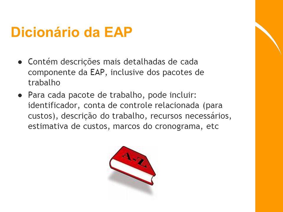 Dicionário da EAP Contém descrições mais detalhadas de cada componente da EAP, inclusive dos pacotes de trabalho Para cada pacote de trabalho, pode in