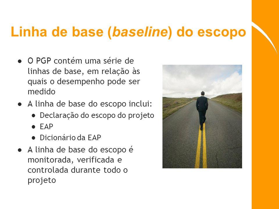 Linha de base (baseline) do escopo O PGP contém uma série de linhas de base, em relação às quais o desempenho pode ser medido A linha de base do escop