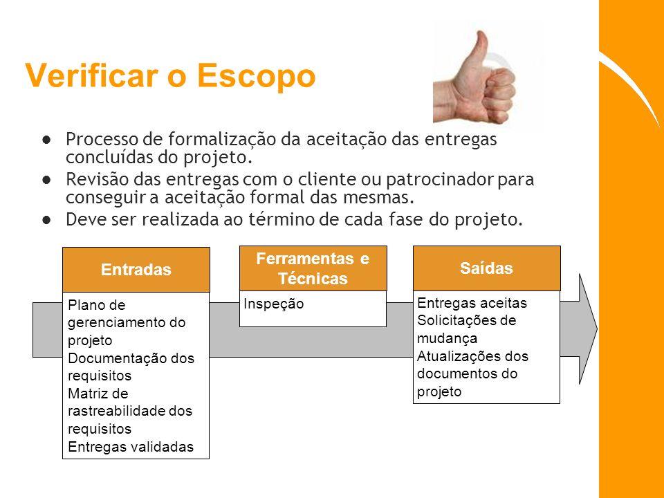 Verificar o Escopo Processo de formalização da aceitação das entregas concluídas do projeto. Revisão das entregas com o cliente ou patrocinador para c
