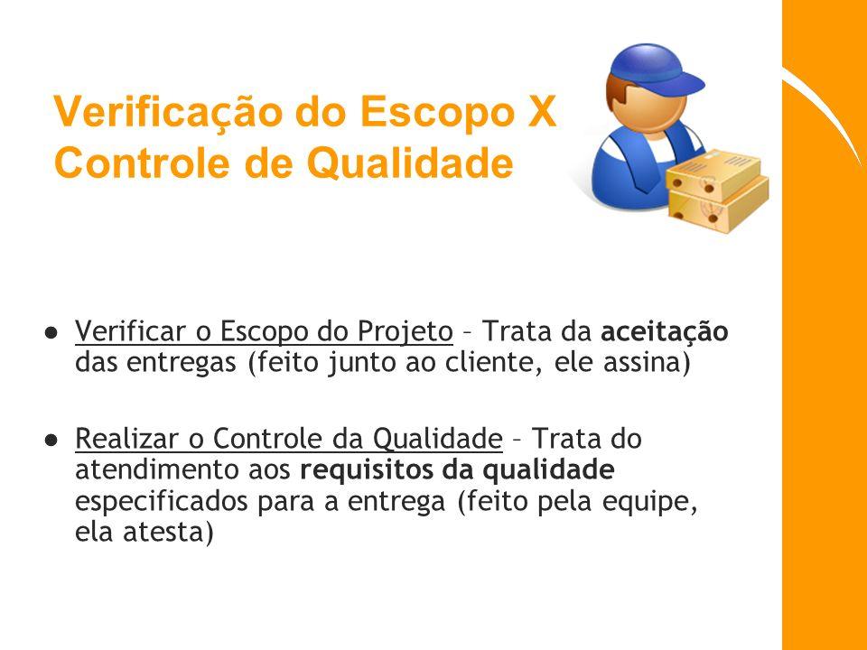 Verifica ç ão do Escopo X Controle de Qualidade Verificar o Escopo do Projeto – Trata da aceitação das entregas (feito junto ao cliente, ele assina) R