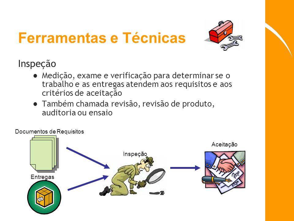 Ferramentas e T é cnicas Inspeção Medição, exame e verificação para determinar se o trabalho e as entregas atendem aos requisitos e aos critérios de a