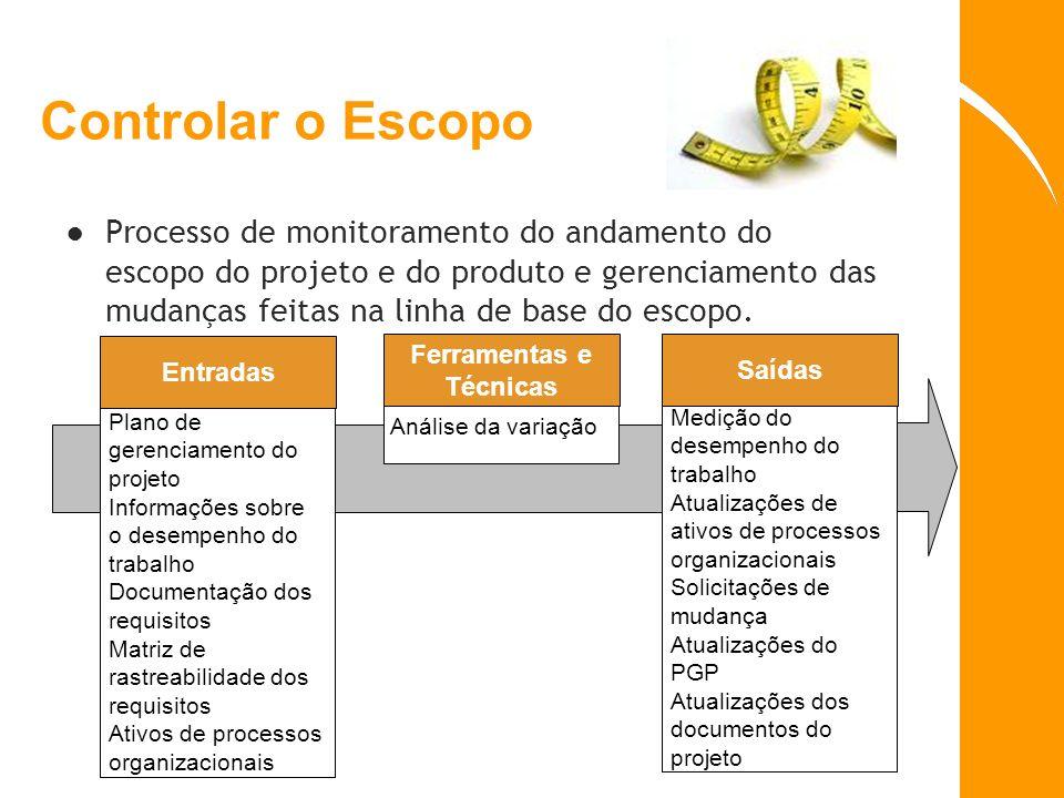 Controlar o Escopo Processo de monitoramento do andamento do escopo do projeto e do produto e gerenciamento das mudanças feitas na linha de base do es