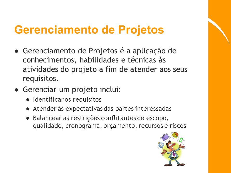 Gerente de Projetos (GP ou PM) O Gerente de Projetos é a pessoa designada pela organização para alcançar os objetivos de um projeto Responsável pelo sucesso ou fracasso do projeto Perfil de empreendedor Tem deveres e responsabilidades Não é o dono do projeto Facilitador e integrador
