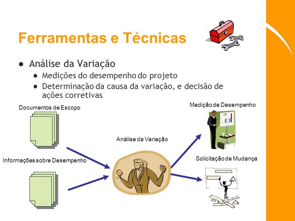 Ferramentas e T é cnicas Análise da Variação Medições do desempenho do projeto Determinação da causa da variação, e decisão de ações corretivas Docume