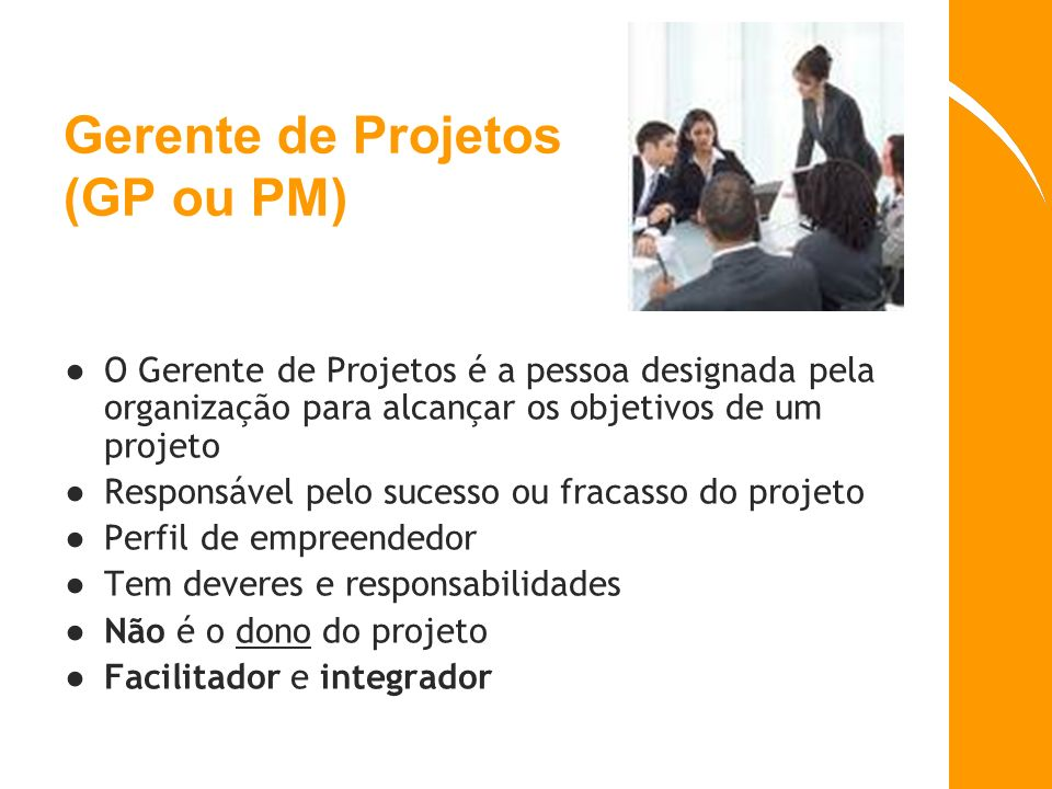 Gerente de Projetos (GP ou PM) O Gerente de Projetos é a pessoa designada pela organização para alcançar os objetivos de um projeto Responsável pelo s
