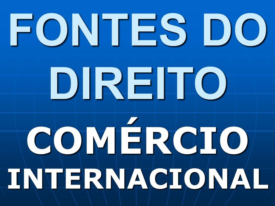 FONTES DO DIREITO COMÉRCIO INTERNACIONAL