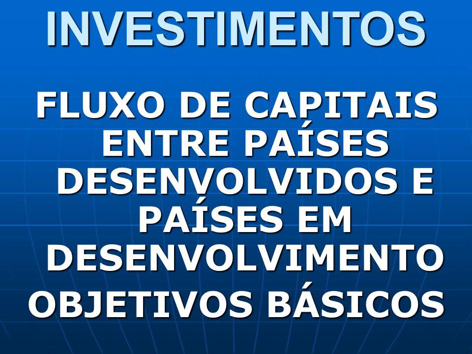 INVESTIMENTOS FLUXO DE CAPITAIS ENTRE PAÍSES DESENVOLVIDOS E PAÍSES EM DESENVOLVIMENTO OBJETIVOS BÁSICOS