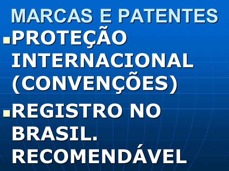 MARCAS E PATENTES PROTEÇÃO INTERNACIONAL (CONVENÇÕES) PROTEÇÃO INTERNACIONAL (CONVENÇÕES) REGISTRO NO BRASIL. RECOMENDÁVEL REGISTRO NO BRASIL. RECOMEN