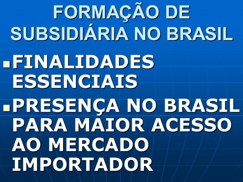 FORMAÇÃO DE SUBSIDIÁRIA NO BRASIL FINALIDADES ESSENCIAIS FINALIDADES ESSENCIAIS PRESENÇA NO BRASIL PARA MAIOR ACESSO AO MERCADO IMPORTADOR PRESENÇA NO