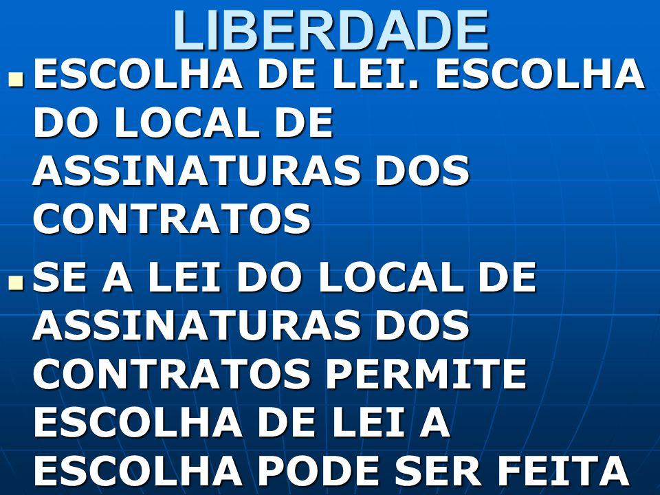 LIBERDADE ESCOLHA DE LEI. ESCOLHA DO LOCAL DE ASSINATURAS DOS CONTRATOS ESCOLHA DE LEI. ESCOLHA DO LOCAL DE ASSINATURAS DOS CONTRATOS SE A LEI DO LOCA
