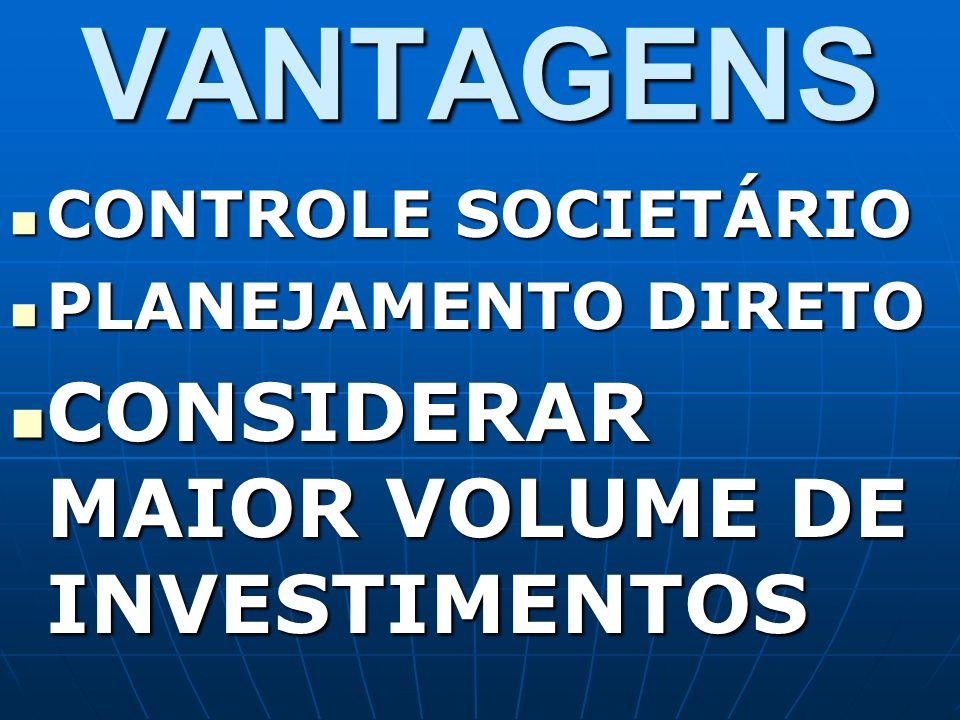 VANTAGENS CONTROLE SOCIETÁRIO CONTROLE SOCIETÁRIO PLANEJAMENTO DIRETO PLANEJAMENTO DIRETO CONSIDERAR MAIOR VOLUME DE INVESTIMENTOS CONSIDERAR MAIOR VO