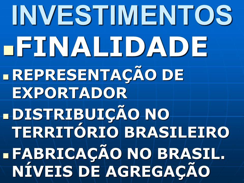 INVESTIMENTOS FINALIDADE FINALIDADE REPRESENTAÇÃO DE EXPORTADOR REPRESENTAÇÃO DE EXPORTADOR DISTRIBUIÇÃO NO TERRITÓRIO BRASILEIRO DISTRIBUIÇÃO NO TERR
