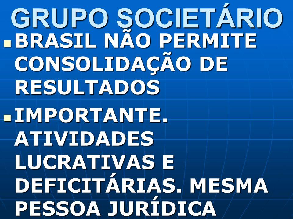GRUPO SOCIETÁRIO BRASIL NÃO PERMITE CONSOLIDAÇÃO DE RESULTADOS BRASIL NÃO PERMITE CONSOLIDAÇÃO DE RESULTADOS IMPORTANTE. ATIVIDADES LUCRATIVAS E DEFIC