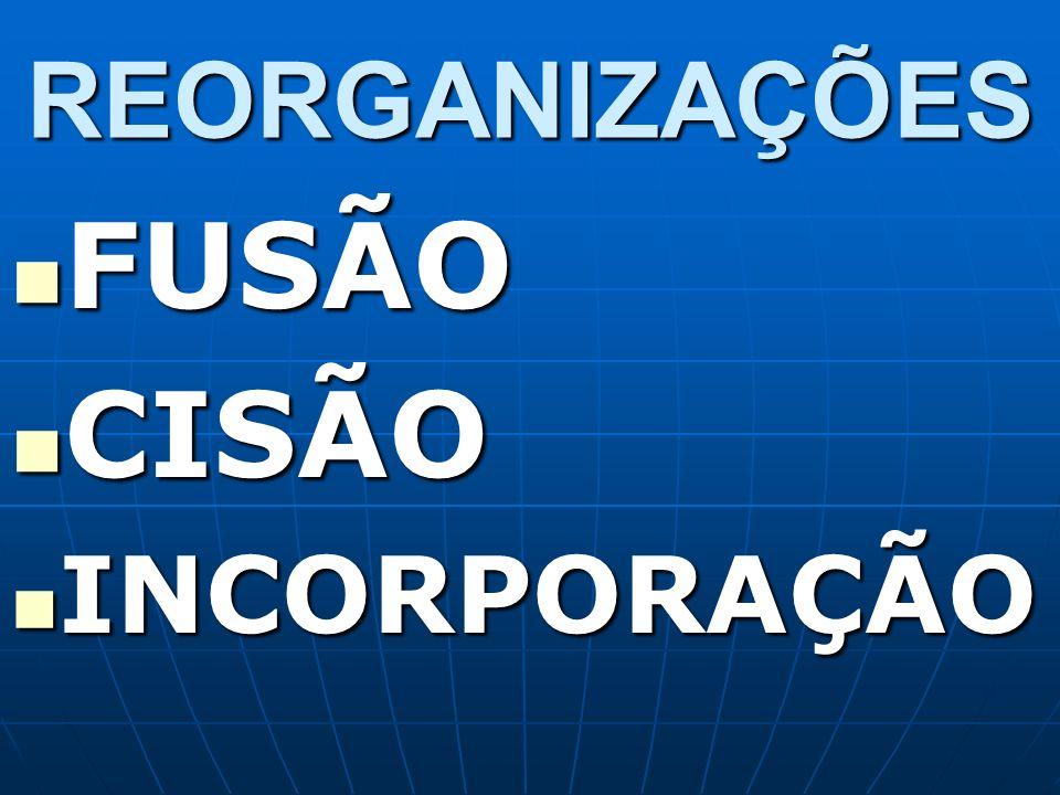 REORGANIZAÇÕES FUSÃO FUSÃO CISÃO CISÃO INCORPORAÇÃO INCORPORAÇÃO