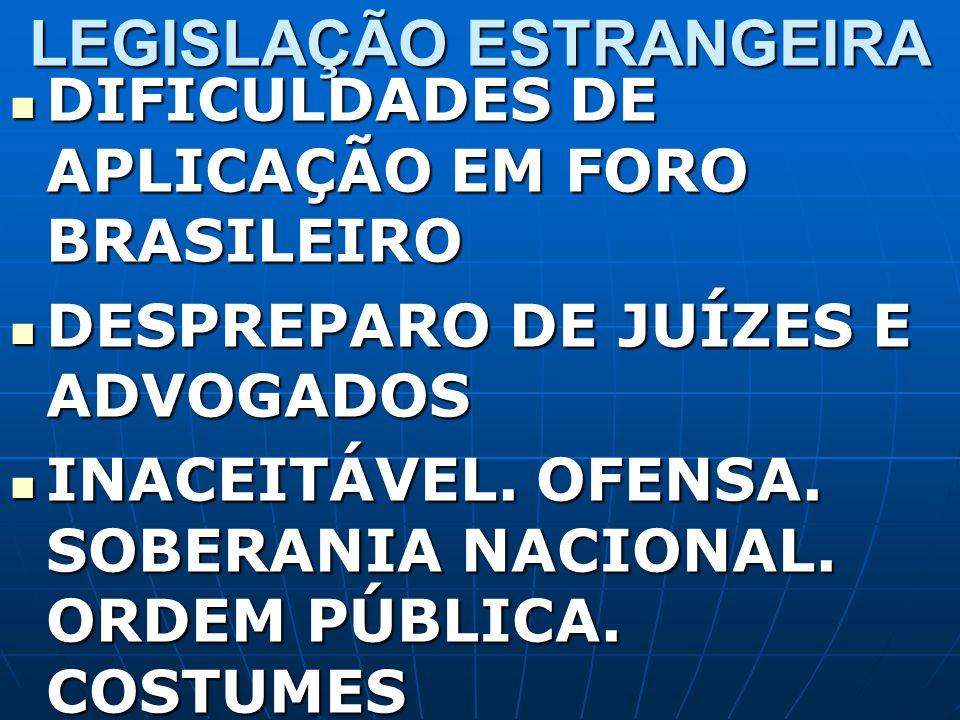 LEGISLAÇÃO ESTRANGEIRA DIFICULDADES DE APLICAÇÃO EM FORO BRASILEIRO DIFICULDADES DE APLICAÇÃO EM FORO BRASILEIRO DESPREPARO DE JUÍZES E ADVOGADOS DESP