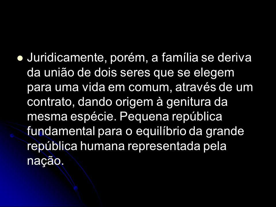 Juridicamente, porém, a família se deriva da união de dois seres que se elegem para uma vida em comum, através de um contrato, dando origem à genitura