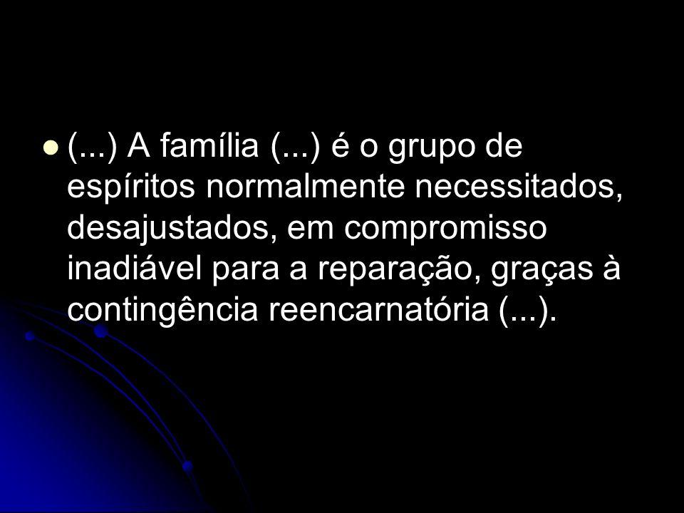 (...) A família (...) é o grupo de espíritos normalmente necessitados, desajustados, em compromisso inadiável para a reparação, graças à contingência