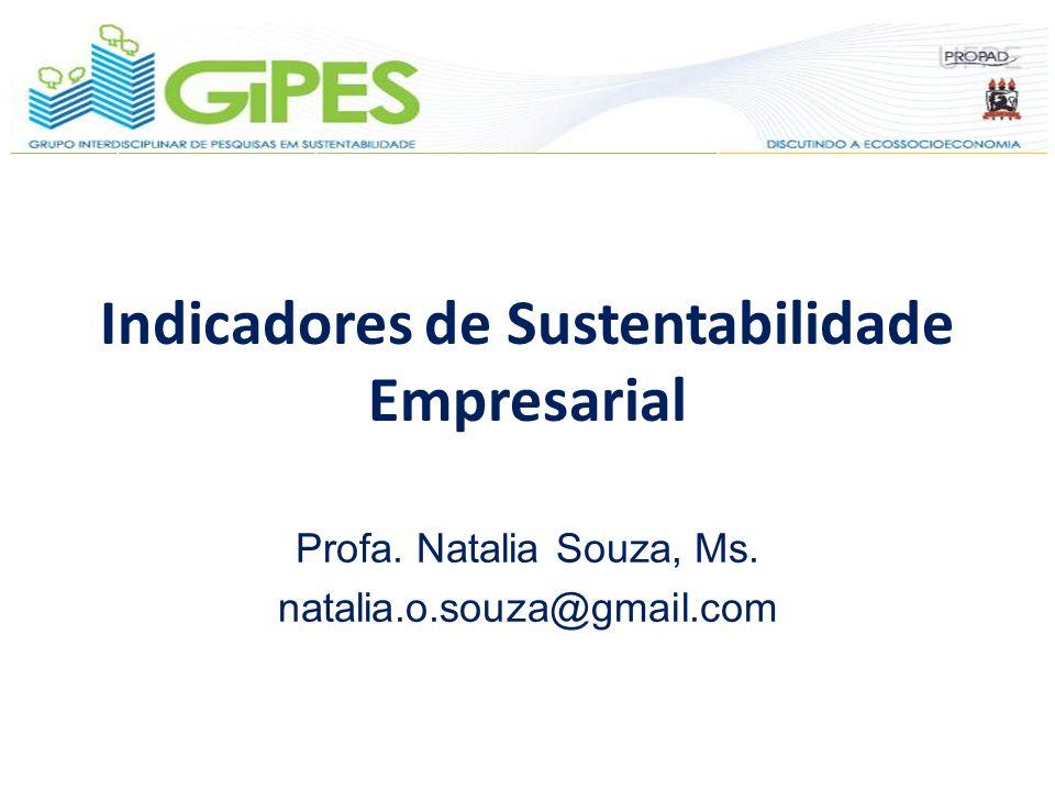 Indicadores de Sustentabilidade Empresarial Profa. Natalia Souza, Ms. natalia.o.souza@gmail.com