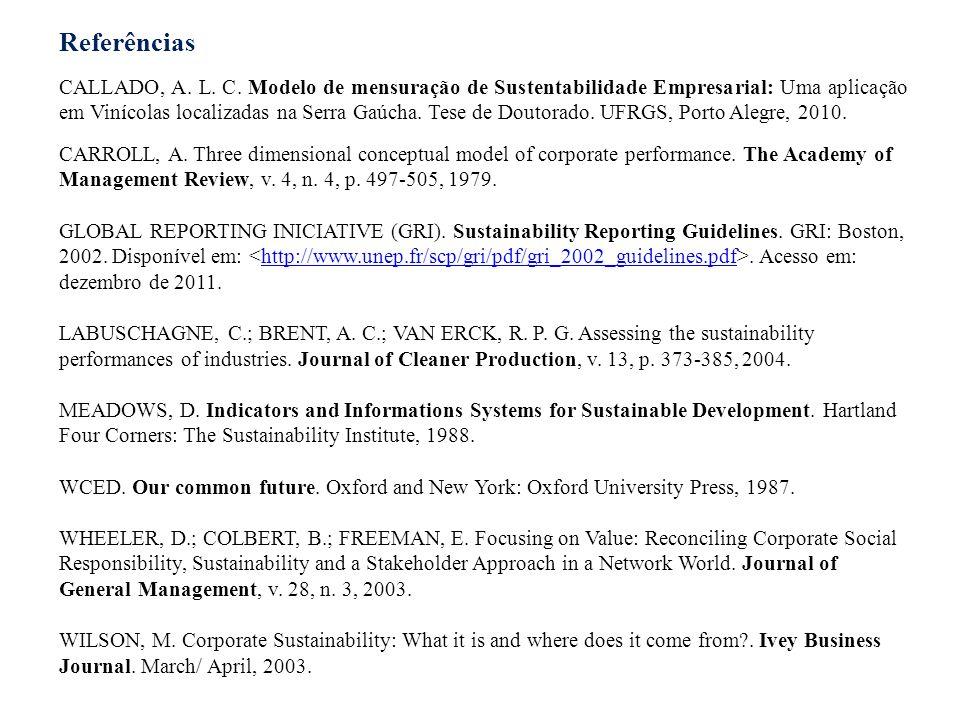 Referências CALLADO, A. L. C. Modelo de mensuração de Sustentabilidade Empresarial: Uma aplicação em Vinícolas localizadas na Serra Gaúcha. Tese de Do