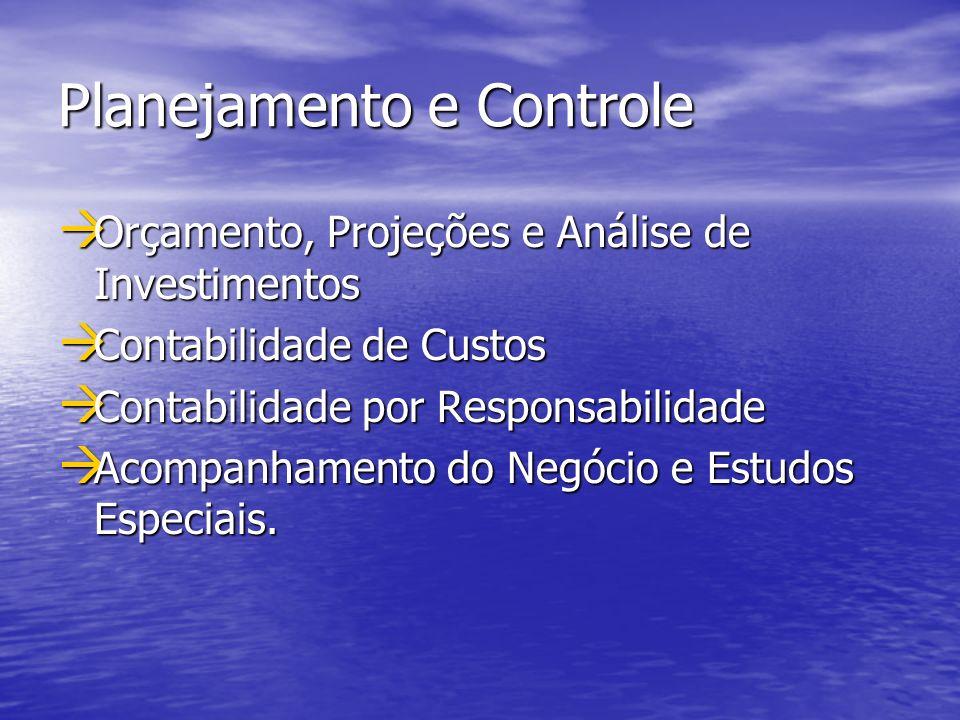 Planejamento e Controle Orçamento, Projeções e Análise de Investimentos Orçamento, Projeções e Análise de Investimentos Contabilidade de Custos Contab