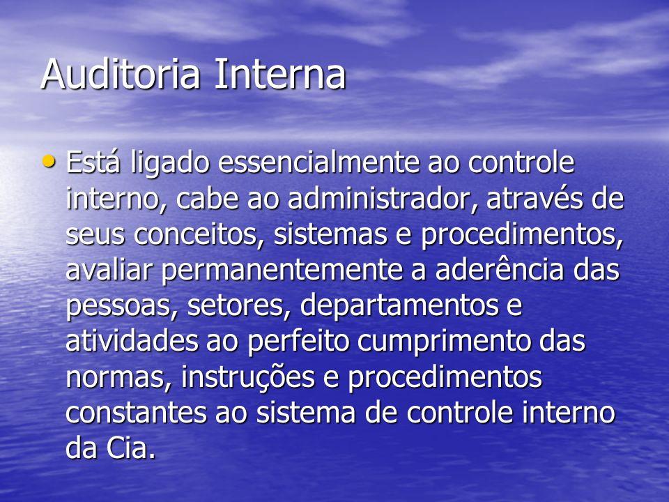Auditoria Interna Está ligado essencialmente ao controle interno, cabe ao administrador, através de seus conceitos, sistemas e procedimentos, avaliar