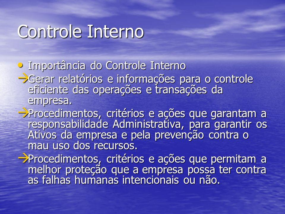 Controle Interno Importância do Controle Interno Importância do Controle Interno Gerar relatórios e informações para o controle eficiente das operaçõe
