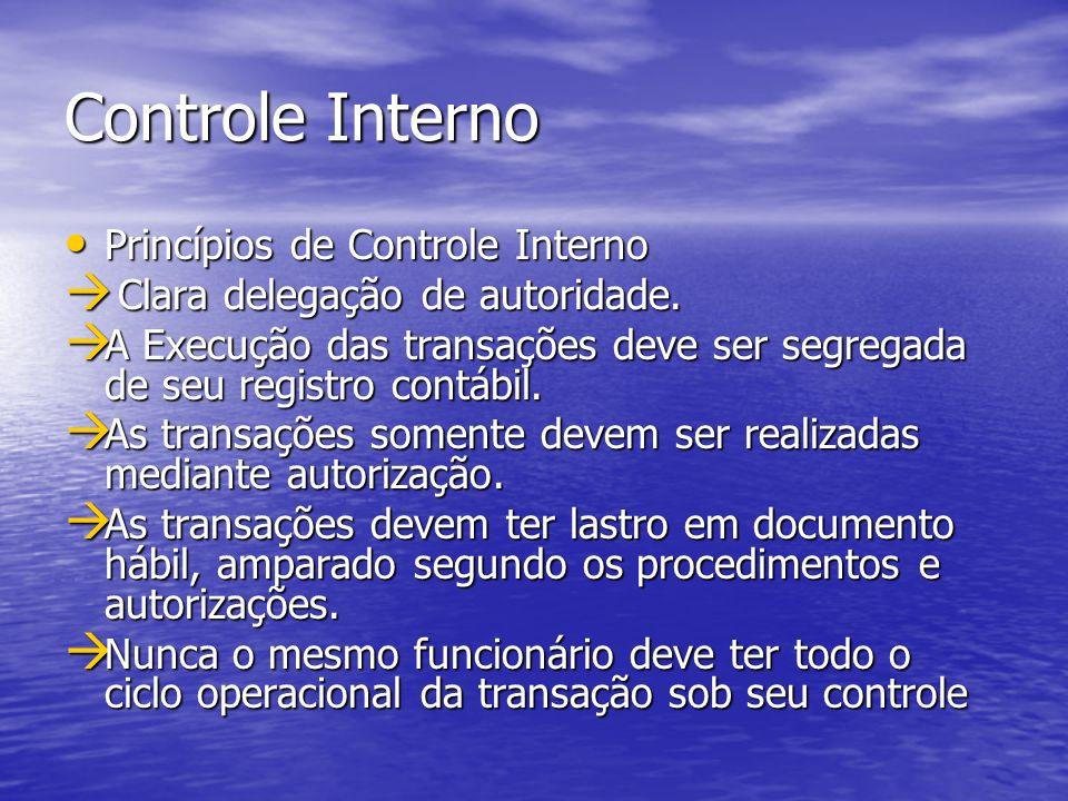 Controle Interno Princípios de Controle Interno Princípios de Controle Interno Clara delegação de autoridade. Clara delegação de autoridade. A Execuçã