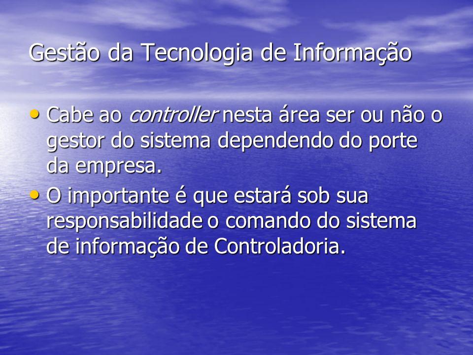 Gestão da Tecnologia de Informação Cabe ao controller nesta área ser ou não o gestor do sistema dependendo do porte da empresa. Cabe ao controller nes