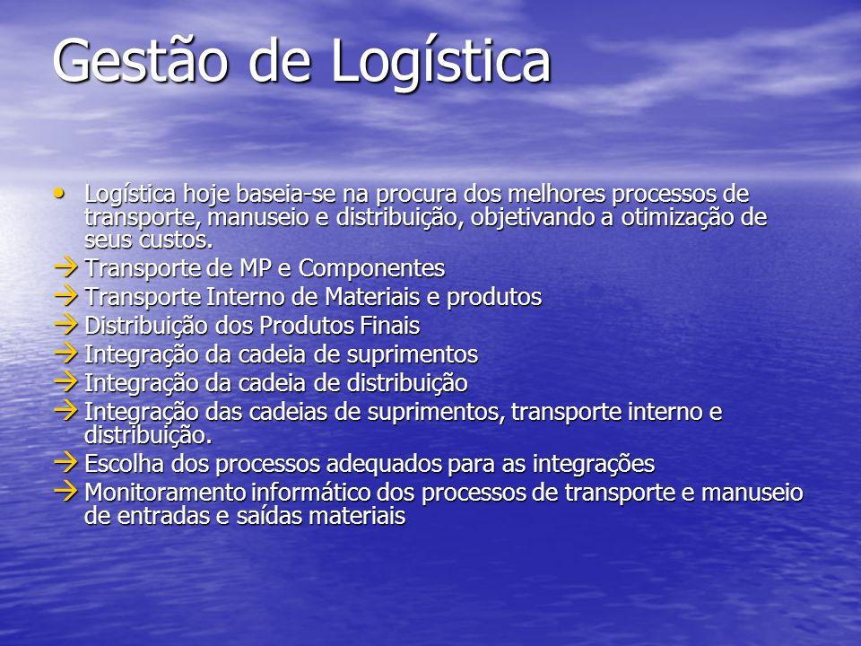 Gestão de Logística Logística hoje baseia-se na procura dos melhores processos de transporte, manuseio e distribuição, objetivando a otimização de seu