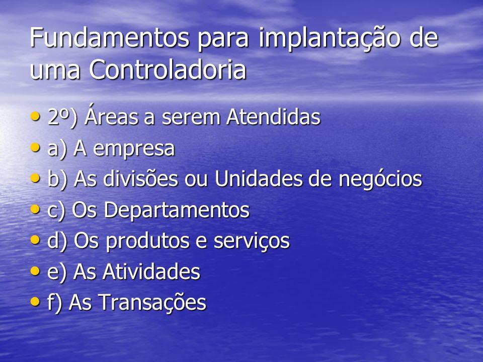 Fundamentos para implantação de uma Controladoria 2º) Áreas a serem Atendidas 2º) Áreas a serem Atendidas a) A empresa a) A empresa b) As divisões ou