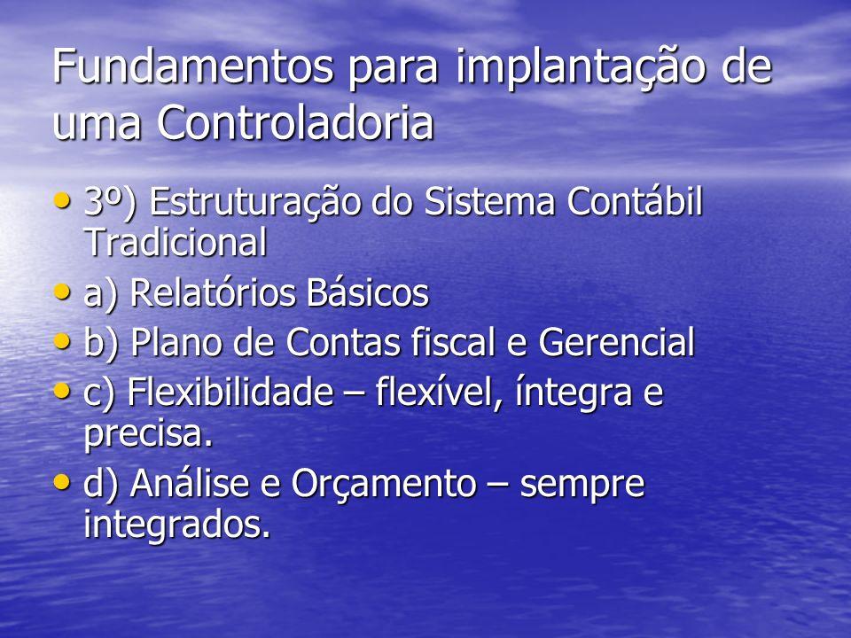 Fundamentos para implantação de uma Controladoria 3º) Estruturação do Sistema Contábil Tradicional 3º) Estruturação do Sistema Contábil Tradicional a)