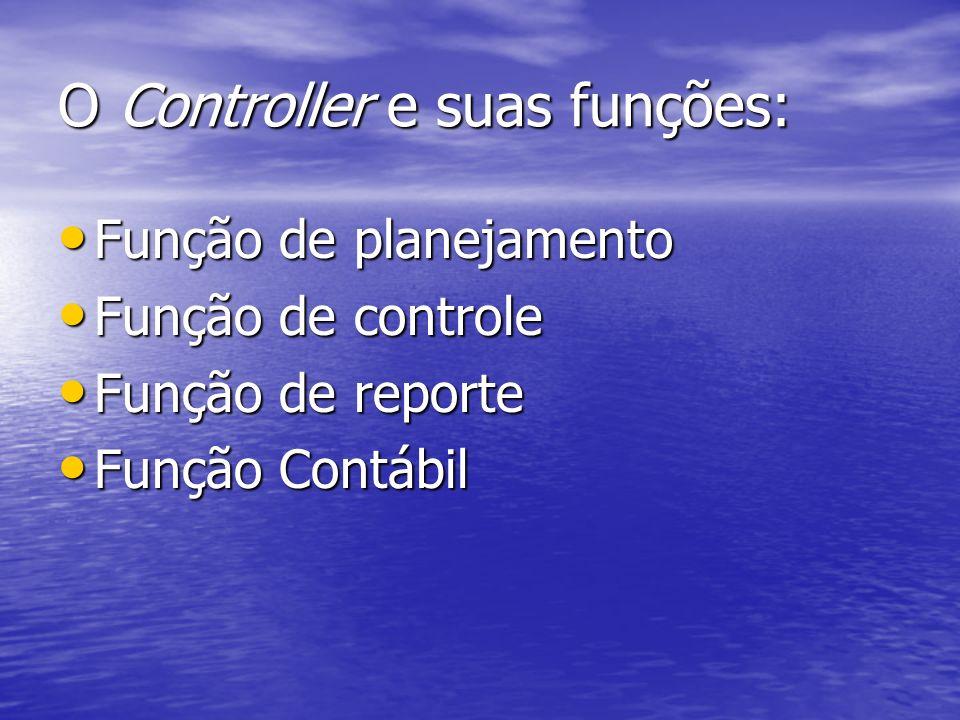 O Controller e suas funções: Função de planejamento Função de planejamento Função de controle Função de controle Função de reporte Função de reporte F