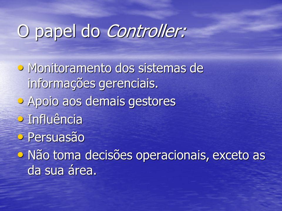 O papel do Controller: Monitoramento dos sistemas de informações gerenciais. Monitoramento dos sistemas de informações gerenciais. Apoio aos demais ge