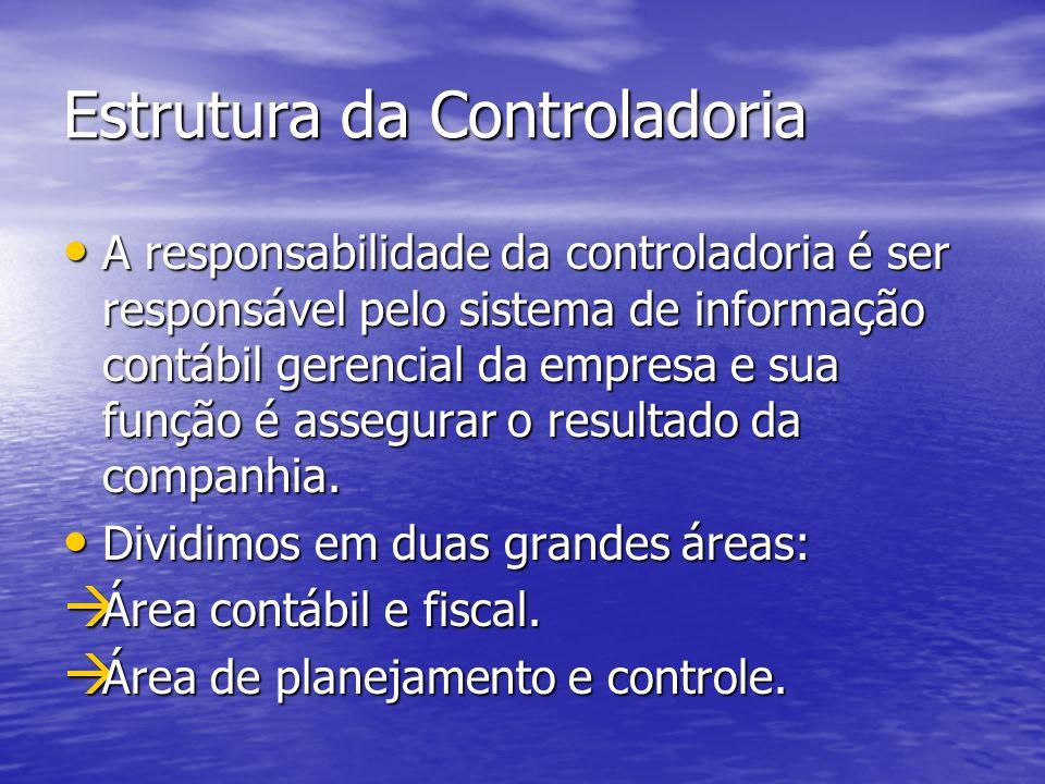 Estrutura da Controladoria A responsabilidade da controladoria é ser responsável pelo sistema de informação contábil gerencial da empresa e sua função