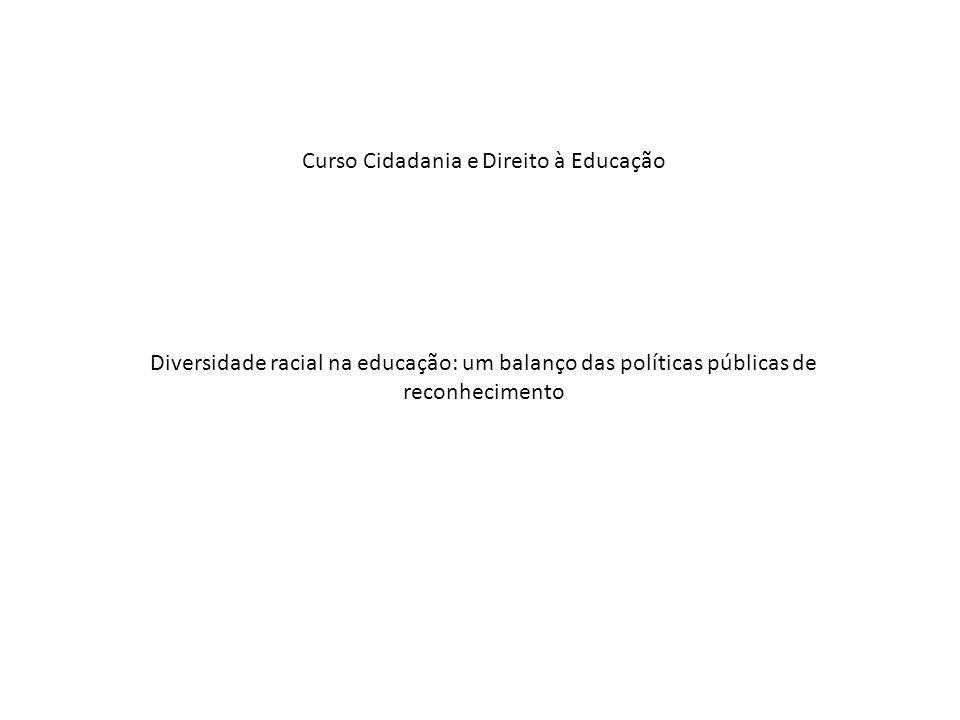 Curso Cidadania e Direito à Educação Diversidade racial na educação: um balanço das políticas públicas de reconhecimento